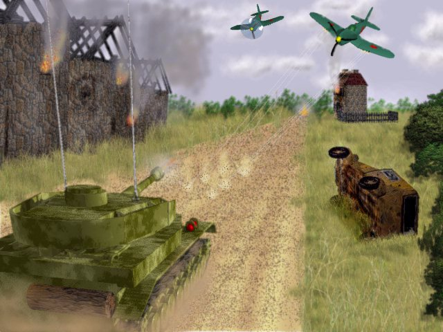Russian Airplanes attack German Tank - Near Stalingrad 1942